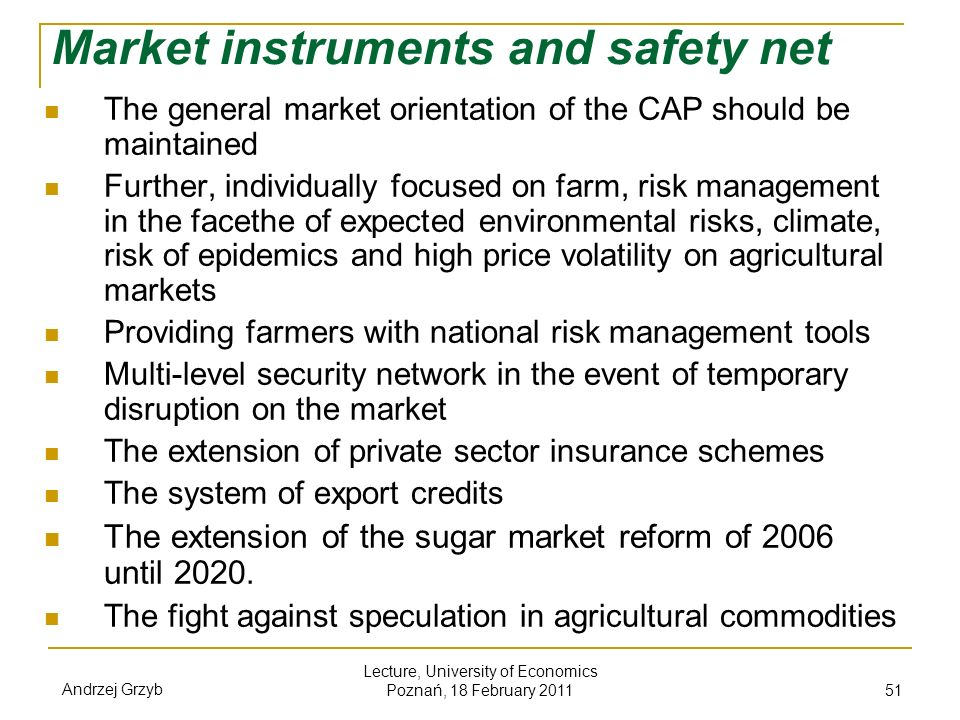 Market instruments and safety net