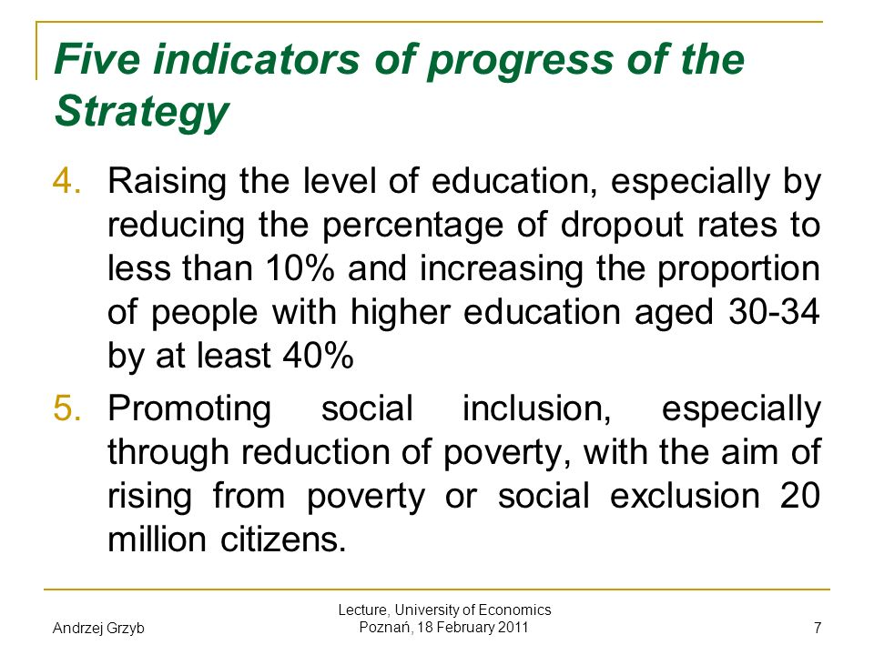 Five indicators of progress of the Strategy