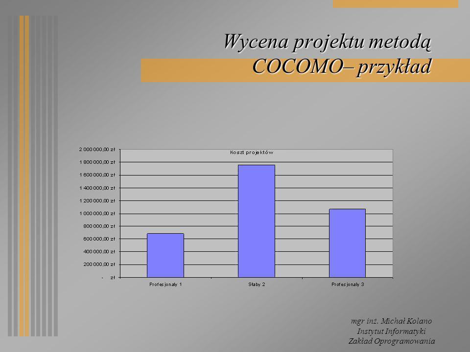 Wycena projektu metodą COCOMO– przykład