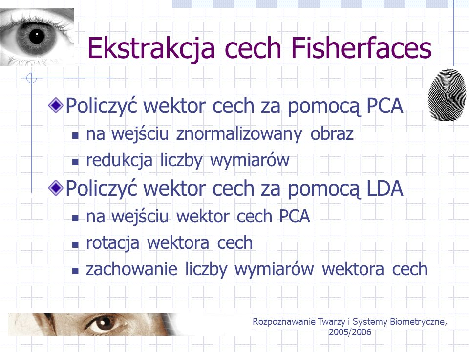 Ekstrakcja cech Fisherfaces