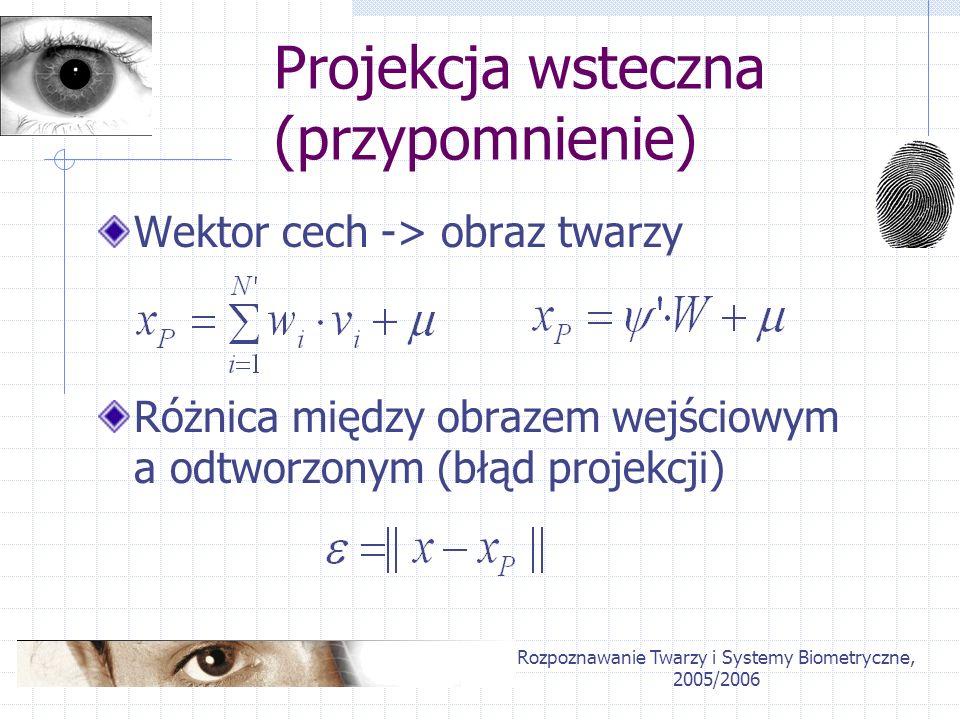 Projekcja wsteczna (przypomnienie)
