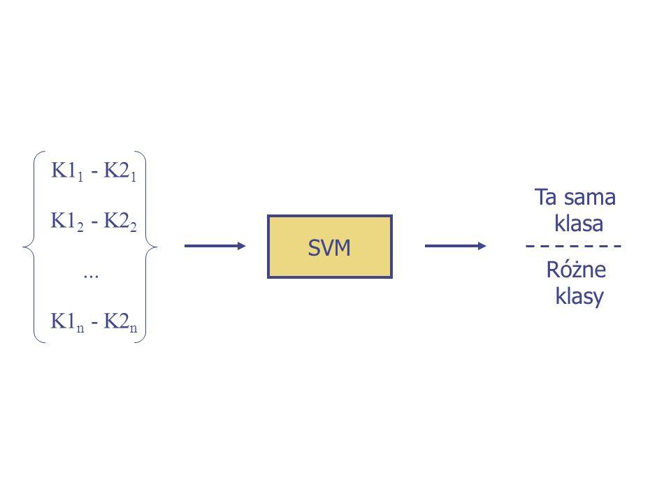 K11 - K21 Ta sama klasa K12 - K22 SVM ... Różne klasy K1n - K2n