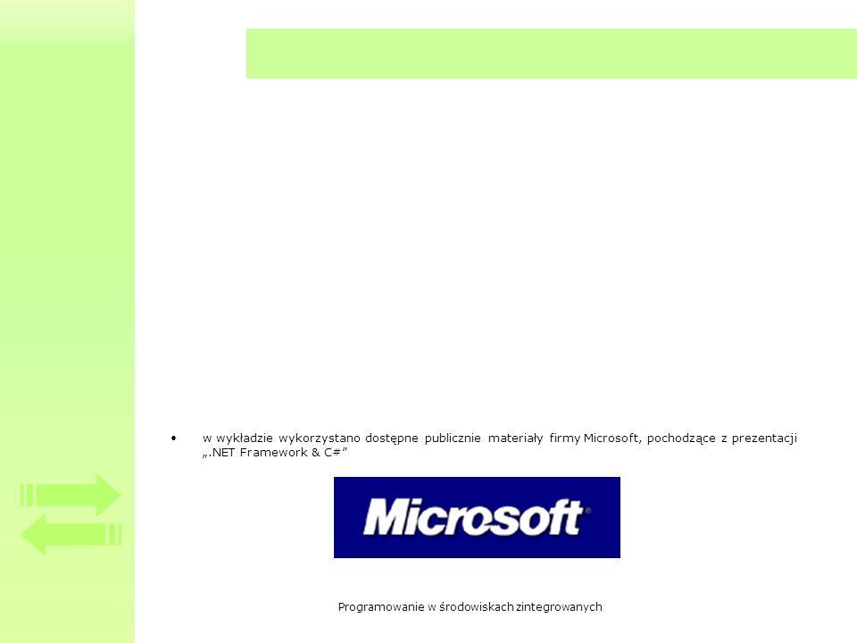"""w wykładzie wykorzystano dostępne publicznie materiały firmy Microsoft, pochodzące z prezentacji """".NET Framework & C#"""