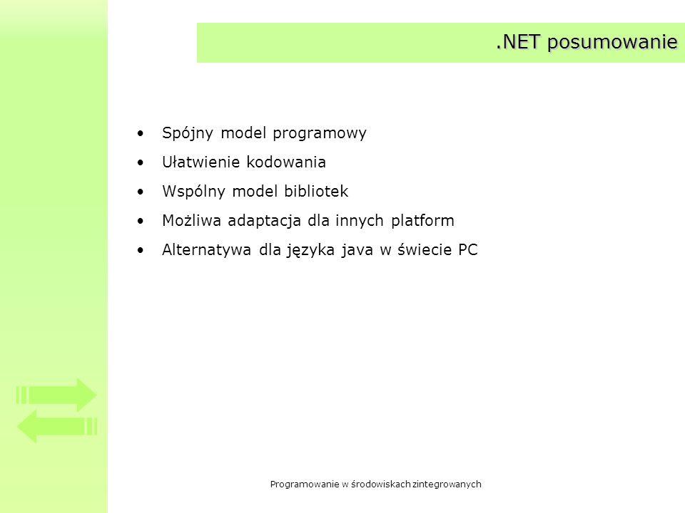 .NET posumowanie Spójny model programowy Ułatwienie kodowania
