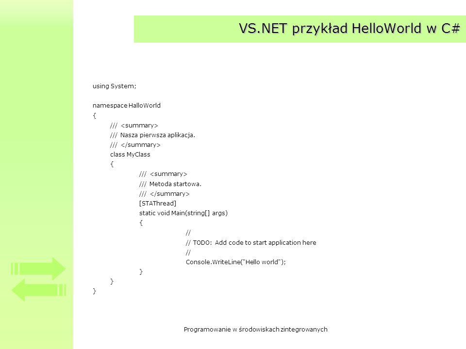VS.NET przykład HelloWorld w C#
