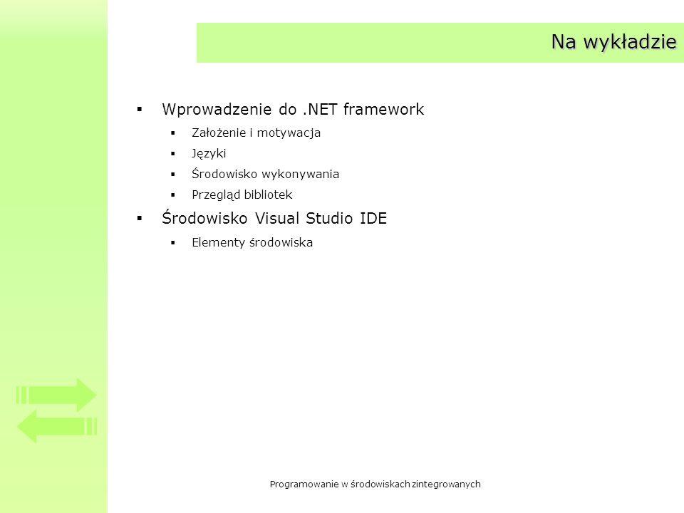 Na wykładzie Wprowadzenie do .NET framework