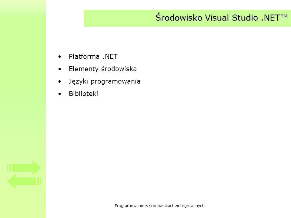 Środowisko Visual Studio .NET™