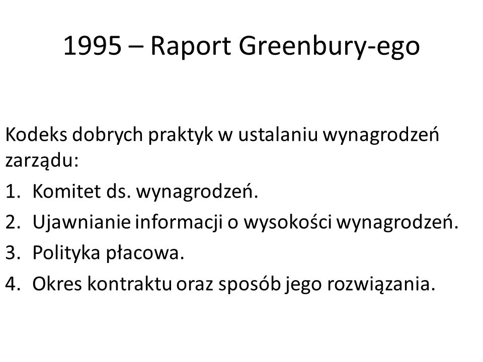 1995 – Raport Greenbury-ego
