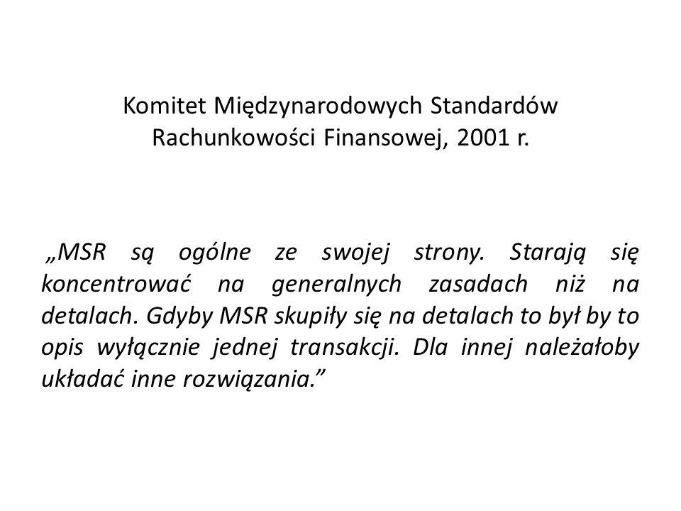 Komitet Międzynarodowych Standardów Rachunkowości Finansowej, 2001 r.