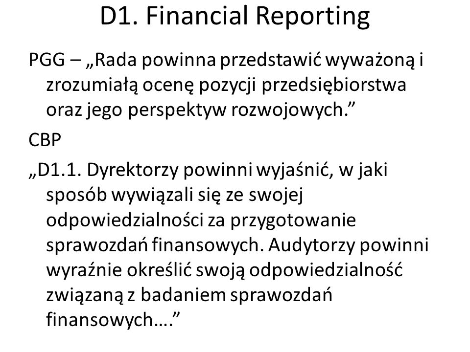 D1. Financial Reporting