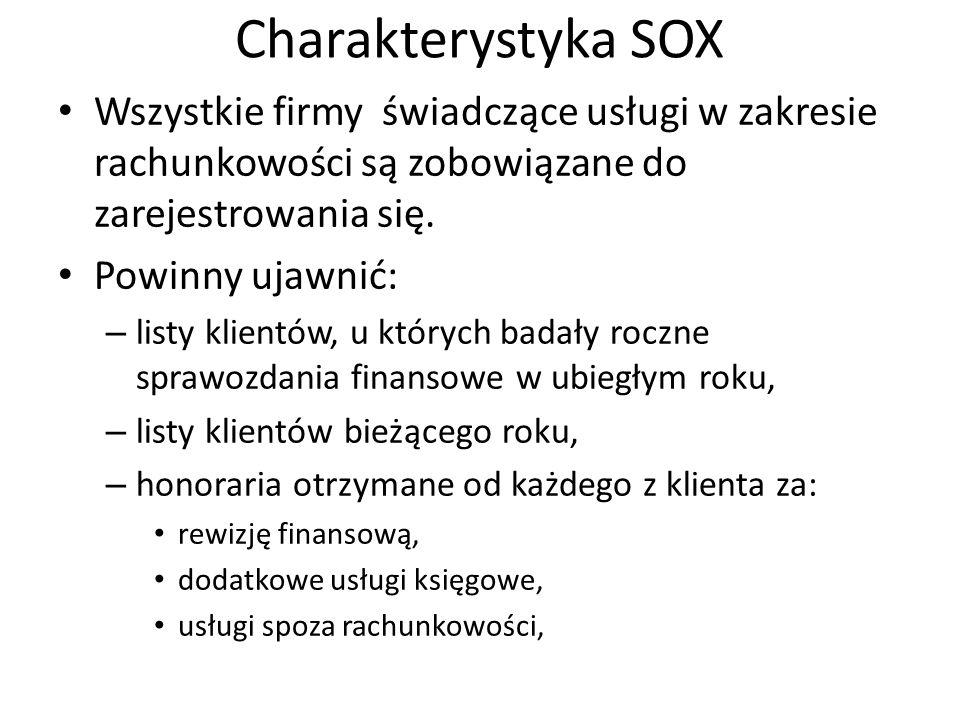 Charakterystyka SOX Wszystkie firmy świadczące usługi w zakresie rachunkowości są zobowiązane do zarejestrowania się.