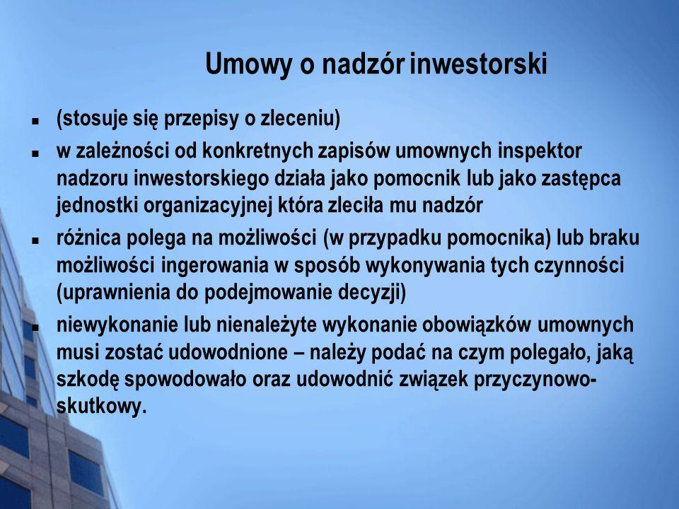 Umowy o nadzór inwestorski