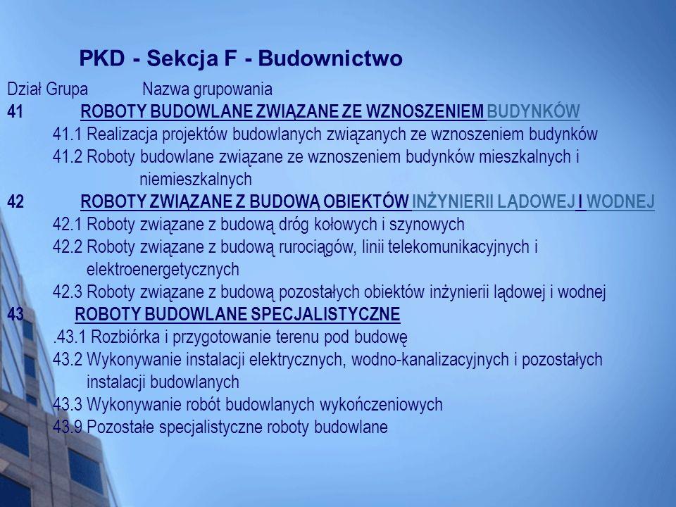 PKD - Sekcja F - Budownictwo