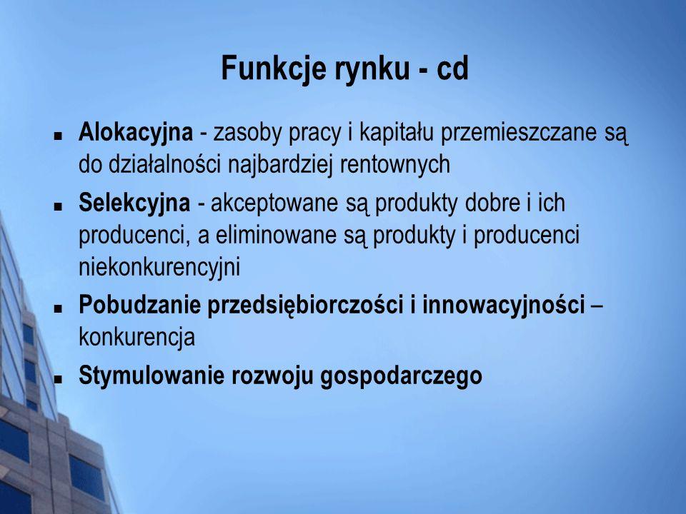 Funkcje rynku - cd Alokacyjna - zasoby pracy i kapitału przemieszczane są do działalności najbardziej rentownych.