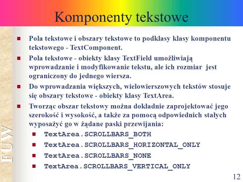 Komponenty tekstowe Pola tekstowe i obszary tekstowe to podklasy klasy komponentu tekstowego - TextComponent.