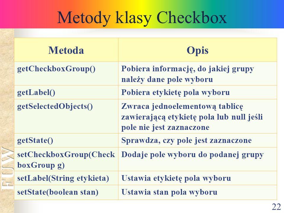 Metody klasy Checkbox Metoda Opis getCheckboxGroup()