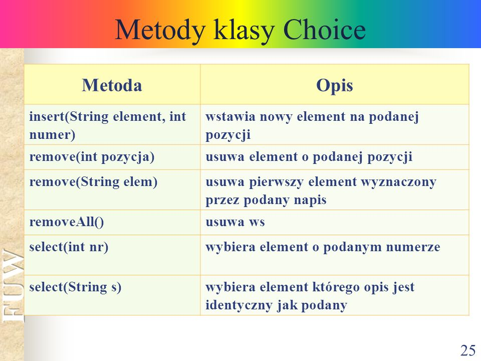 Metody klasy Choice Metoda Opis insert(String element, int numer)