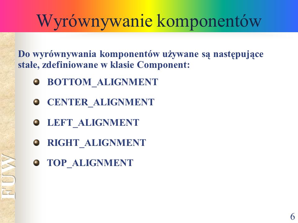 Wyrównywanie komponentów