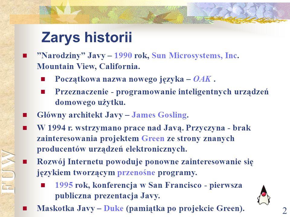 Zarys historii Narodziny Javy – 1990 rok, Sun Microsystems, Inc. Mountain View, California. Początkowa nazwa nowego języka – OAK .