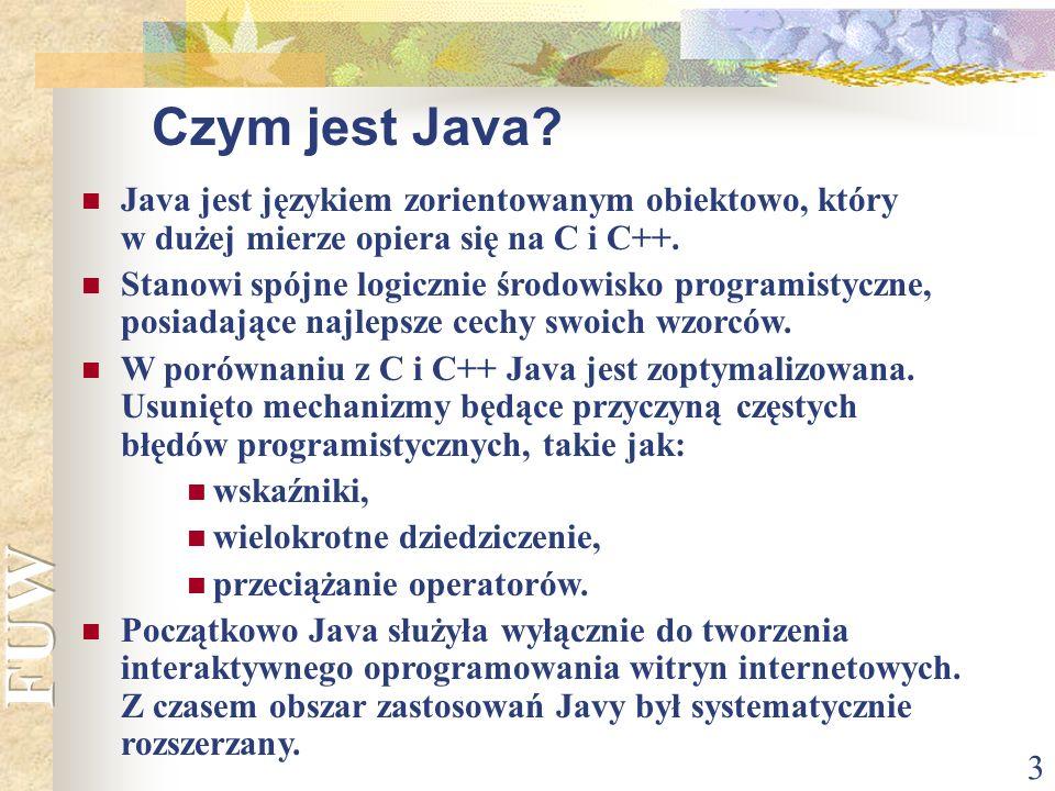 Czym jest Java Java jest językiem zorientowanym obiektowo, który w dużej mierze opiera się na C i C++.