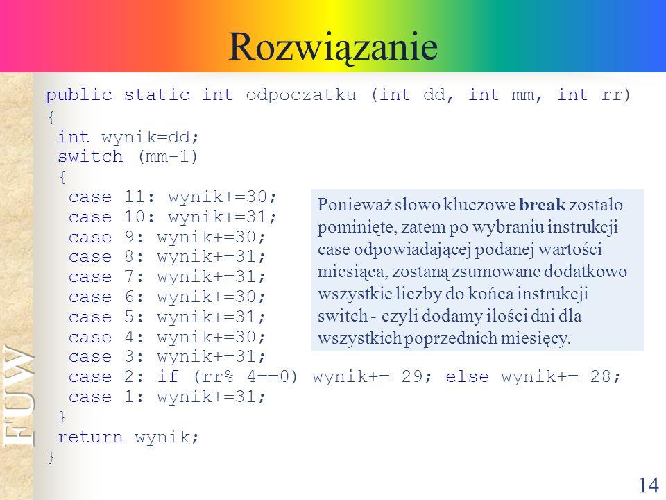 Rozwiązanie public static int odpoczatku (int dd, int mm, int rr) {