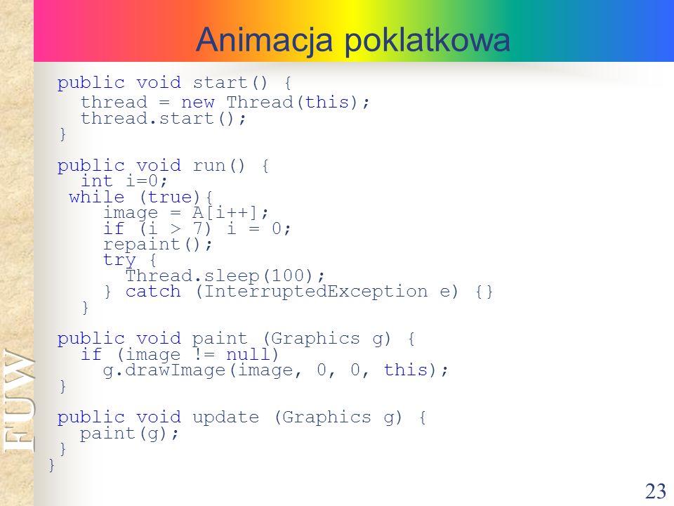 Animacja poklatkowa public void start() { thread = new Thread(this);