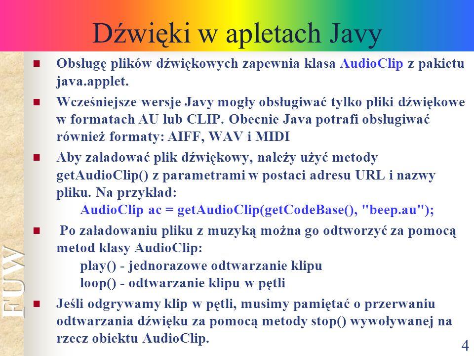 Dźwięki w apletach Javy