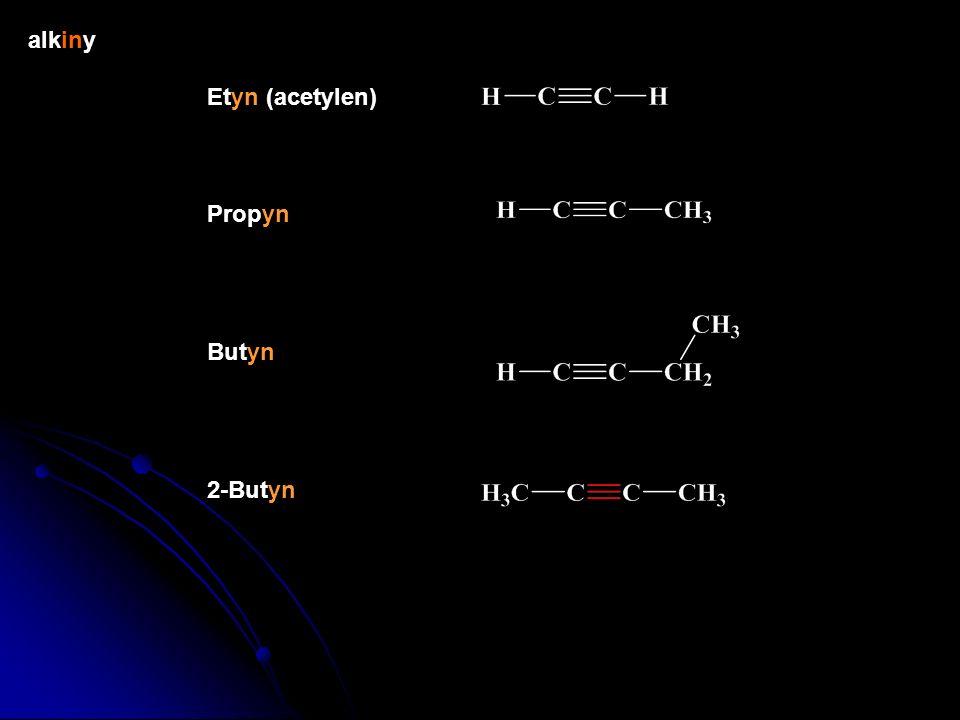 alkiny Etyn (acetylen) Propyn Butyn 2-Butyn