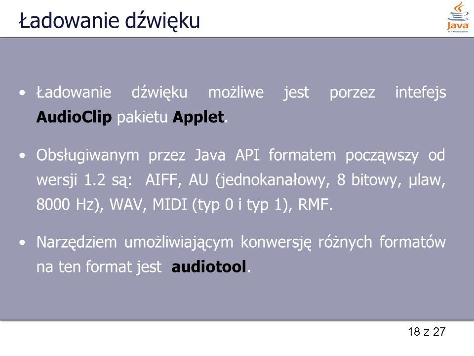 Ładowanie dźwięku Ładowanie dźwięku możliwe jest porzez intefejs AudioClip pakietu Applet.