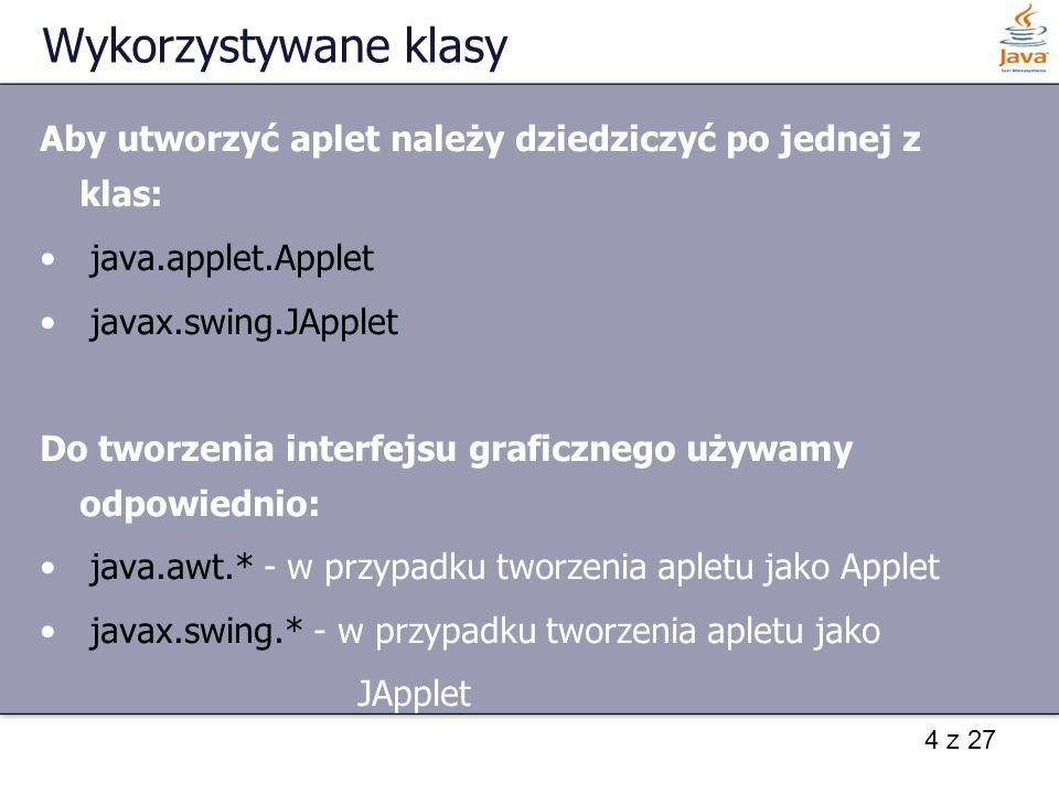 Wykorzystywane klasyAby utworzyć aplet należy dziedziczyć po jednej z klas: java.applet.Applet. javax.swing.JApplet.