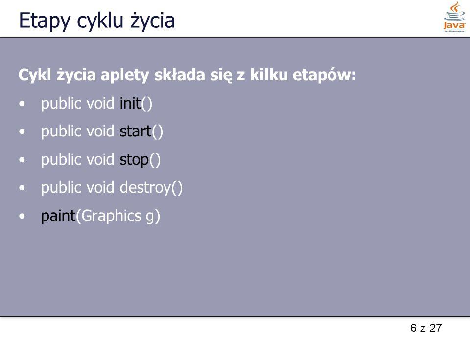 Etapy cyklu życia Cykl życia aplety składa się z kilku etapów: