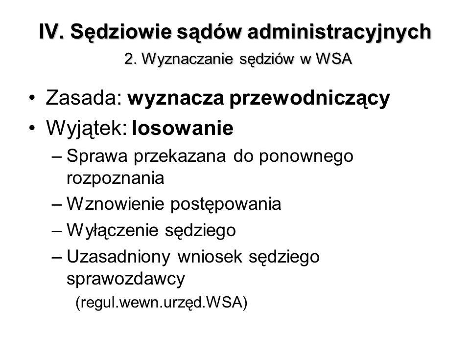 IV. Sędziowie sądów administracyjnych 2. Wyznaczanie sędziów w WSA