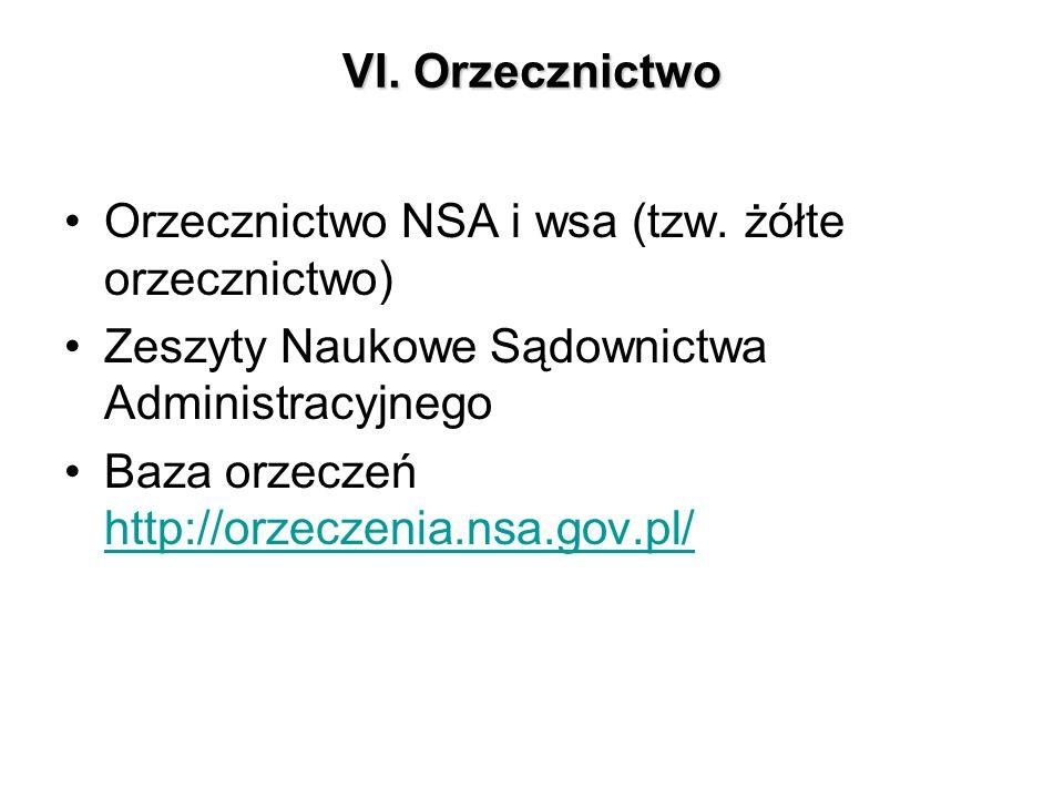 VI. Orzecznictwo Orzecznictwo NSA i wsa (tzw. żółte orzecznictwo) Zeszyty Naukowe Sądownictwa Administracyjnego.