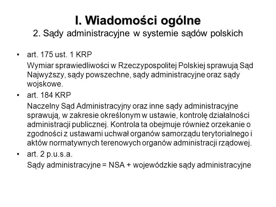 I. Wiadomości ogólne 2. Sądy administracyjne w systemie sądów polskich
