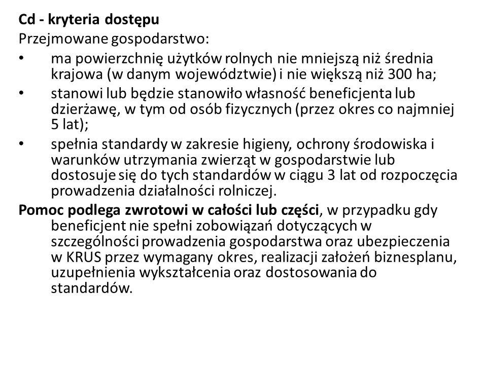 Cd - kryteria dostępu Przejmowane gospodarstwo: