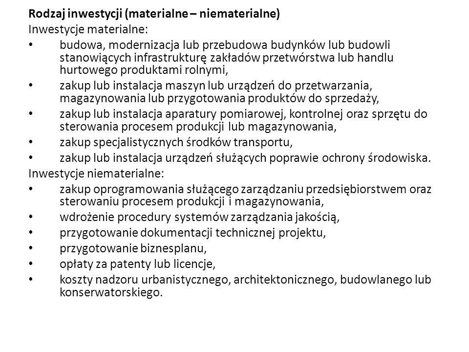 Rodzaj inwestycji (materialne – niematerialne)