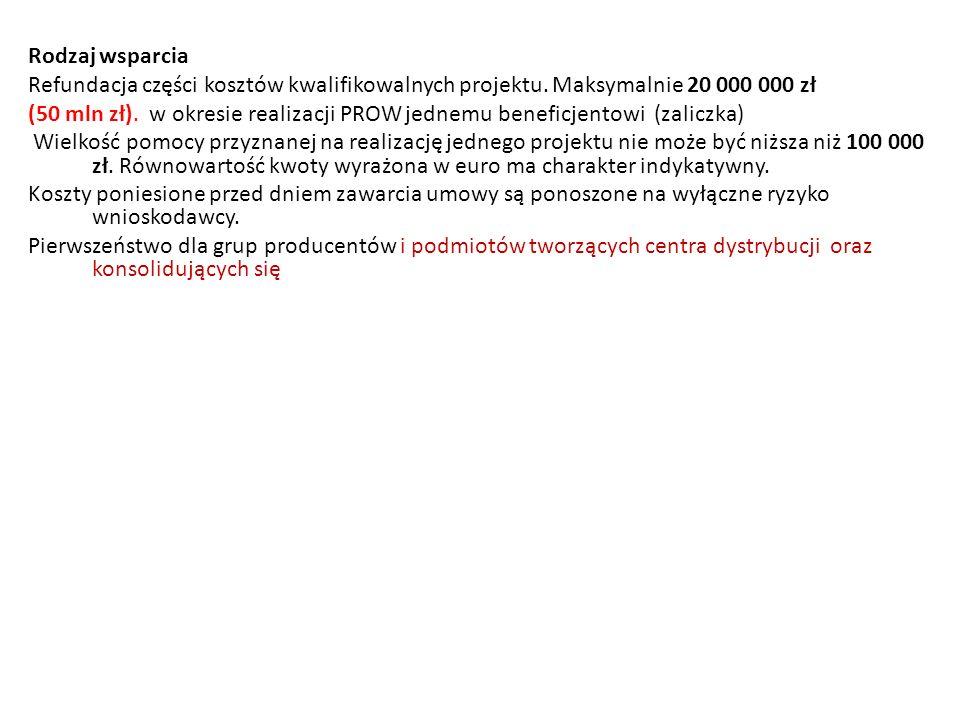 Rodzaj wsparcia Refundacja części kosztów kwalifikowalnych projektu. Maksymalnie 20 000 000 zł.