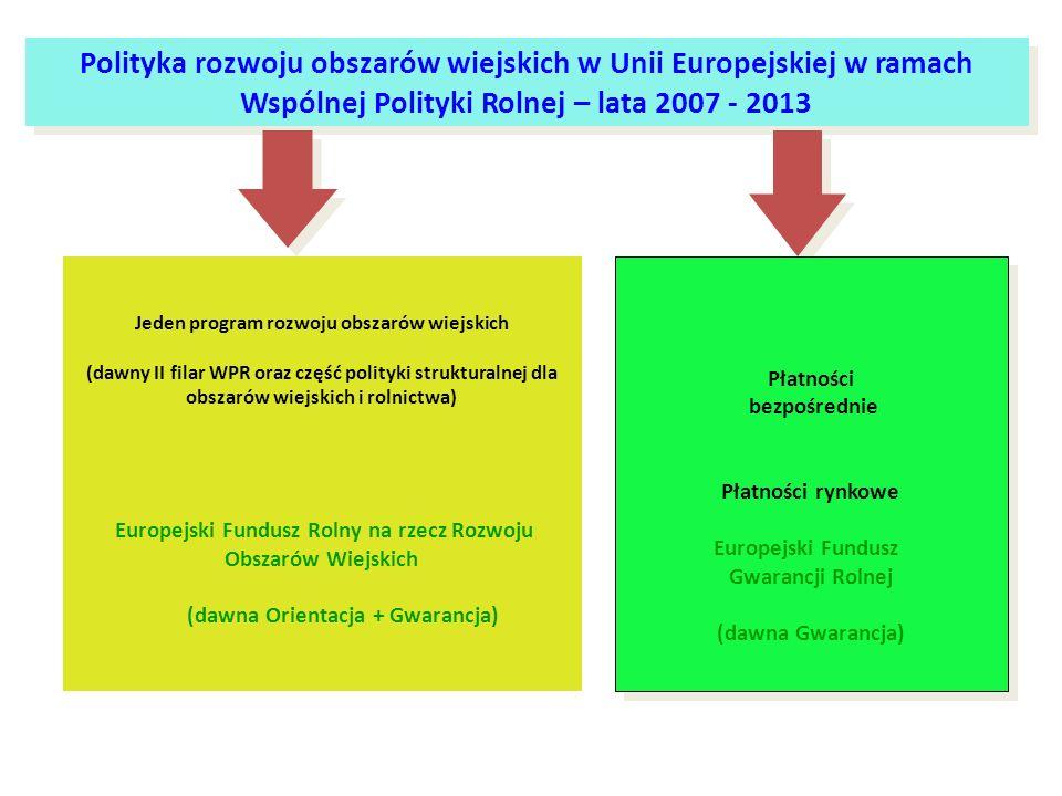 Polityka rozwoju obszarów wiejskich w Unii Europejskiej w ramach Wspólnej Polityki Rolnej – lata 2007 - 2013
