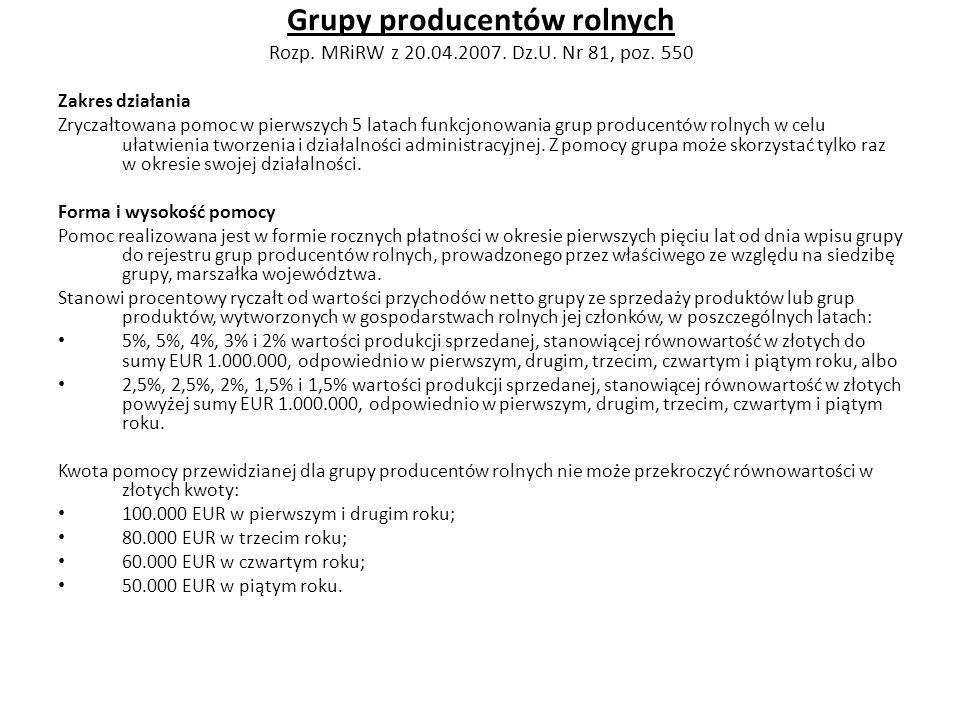 Grupy producentów rolnych Rozp. MRiRW z 20.04.2007. Dz.U. Nr 81, poz. 550
