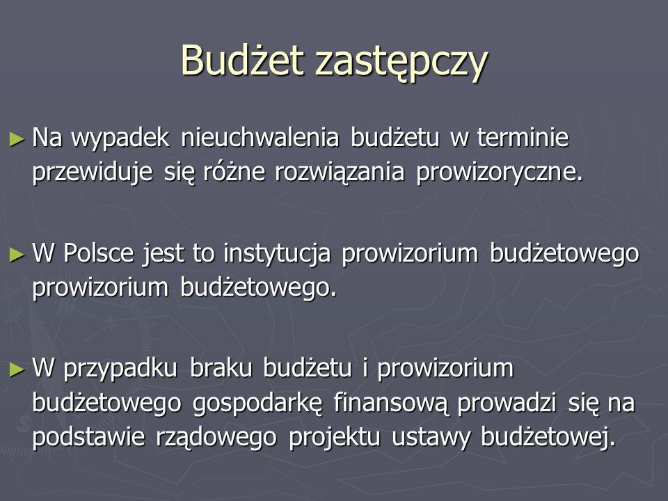 Budżet zastępczyNa wypadek nieuchwalenia budżetu w terminie przewiduje się różne rozwiązania prowizoryczne.