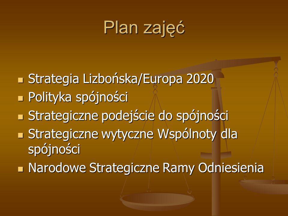 Plan zajęć Strategia Lizbońska/Europa 2020 Polityka spójności