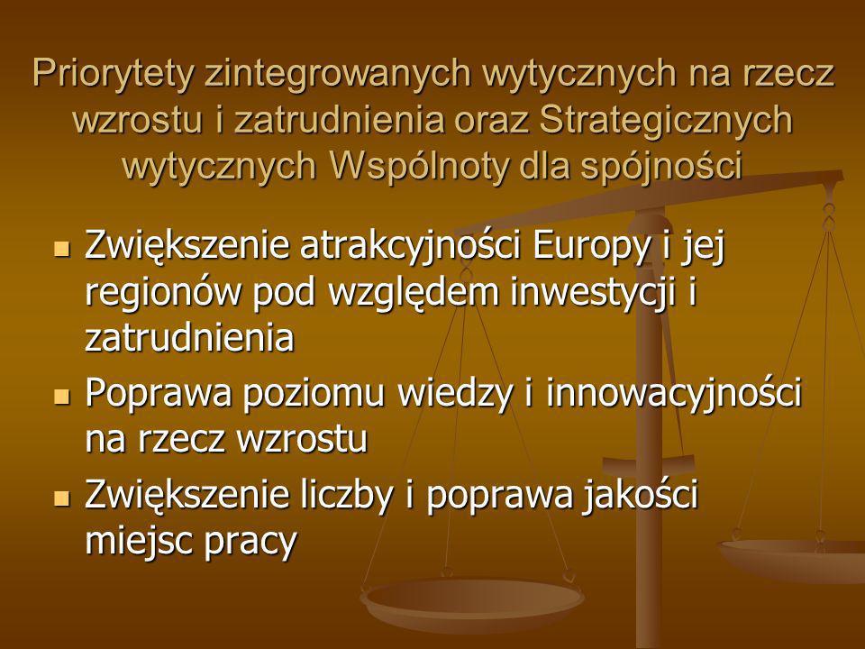 Priorytety zintegrowanych wytycznych na rzecz wzrostu i zatrudnienia oraz Strategicznych wytycznych Wspólnoty dla spójności
