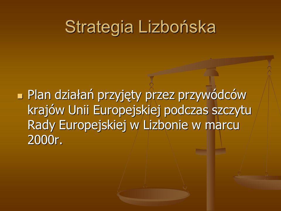 Strategia Lizbońska Plan działań przyjęty przez przywódców krajów Unii Europejskiej podczas szczytu Rady Europejskiej w Lizbonie w marcu 2000r.
