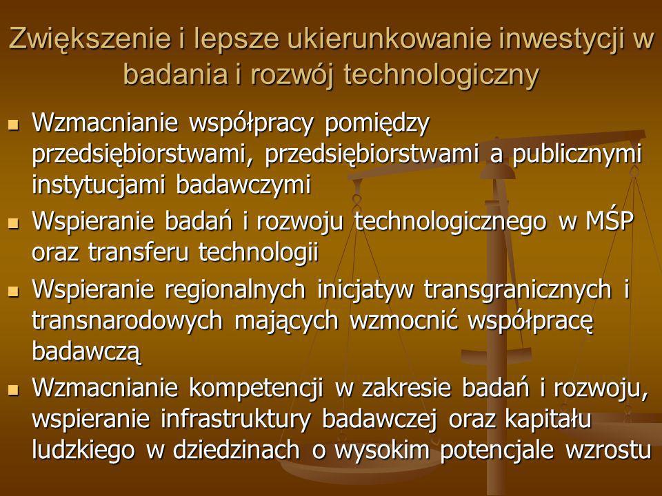 Zwiększenie i lepsze ukierunkowanie inwestycji w badania i rozwój technologiczny