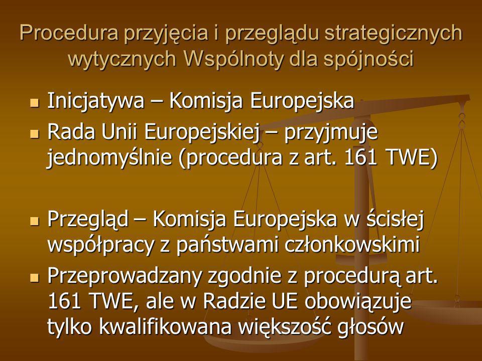 Procedura przyjęcia i przeglądu strategicznych wytycznych Wspólnoty dla spójności