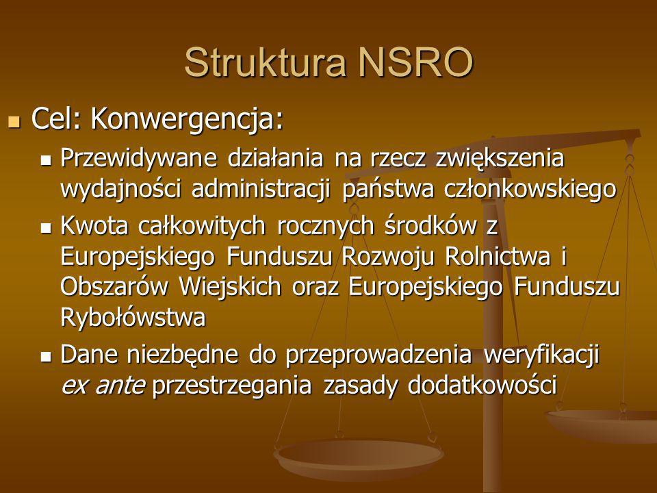 Struktura NSRO Cel: Konwergencja: