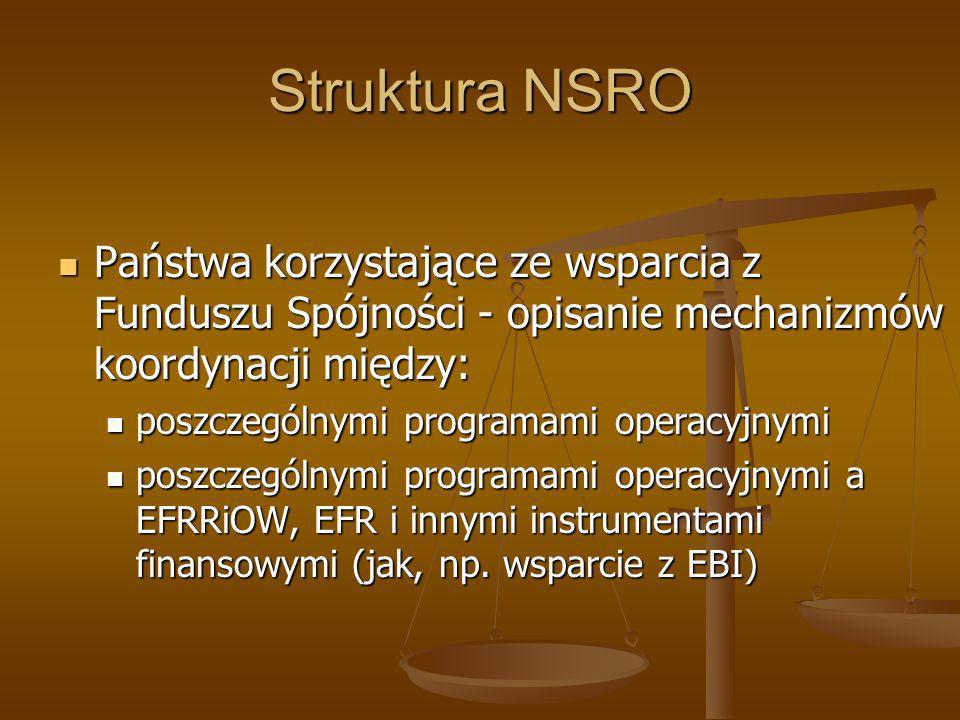 Struktura NSRO Państwa korzystające ze wsparcia z Funduszu Spójności - opisanie mechanizmów koordynacji między: