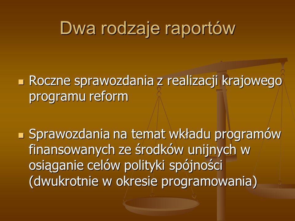 Dwa rodzaje raportów Roczne sprawozdania z realizacji krajowego programu reform.
