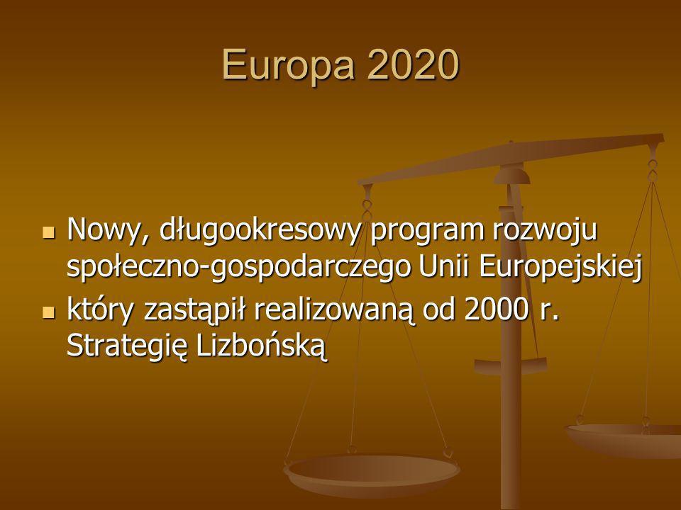 Europa 2020 Nowy, długookresowy program rozwoju społeczno-gospodarczego Unii Europejskiej.