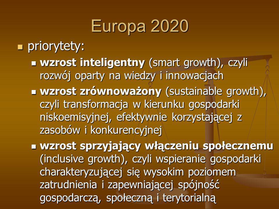 Europa 2020 priorytety: wzrost inteligentny (smart growth), czyli rozwój oparty na wiedzy i innowacjach.